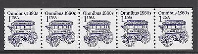 USA 1987 TRANSPORT RE-ENGRAVED 1c PLATE COIL STRIP OF 5, SCOTT 2225, SG 2150 MNH