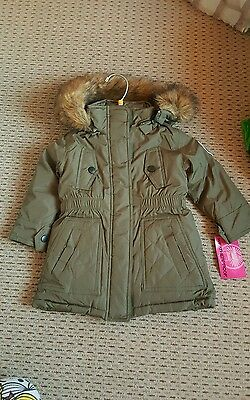 Green weatherproof boys parka Age 2 new with tags