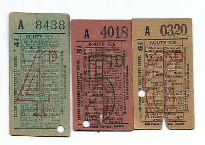 Bus tickets - London Passenger Transport Board - Route 62S