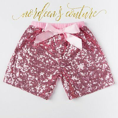 Baby Girl Pink Sequin Shorts Girls Birthday Outfit Glitter Toddler Party Shorts