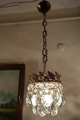 Antique Vintage Small French Basket Style Crystal Chandelier Lamp 1940's.6 in