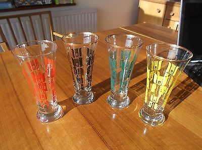 Vintage 1960's Tall Glasses Set of 4