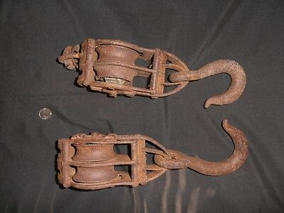 Antique iron pulleys doubles block and tackle (2)
