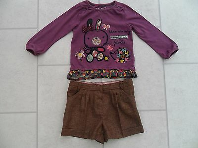 Cute Girls M & Co Wool Blend Winter Shorts & Nutmeg Decorated Top Age 3/4 Years