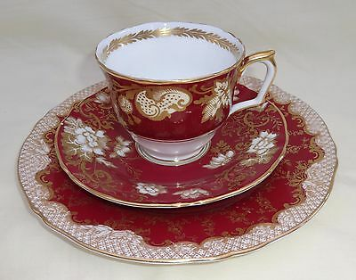 Crown Staffordshire Tea Cup / Saucer And Salad Plate Red & Gold Gilt Floral Pain