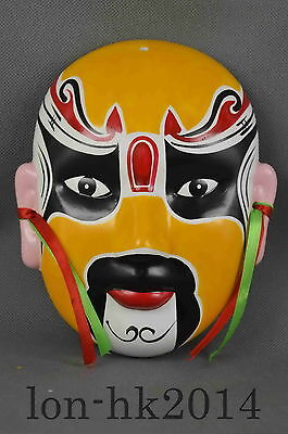 Collectible Handwork Porcelain Carve Traditional Mask Ancient Exorcism Statue