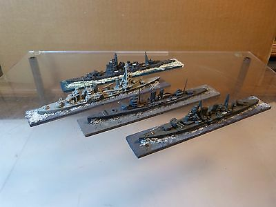 White Metal Waterline Ships Lot of 4 Military ID Naval Ships - Lot C - 1950's