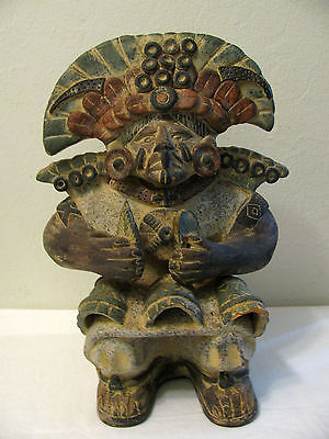 Antique Pre Columbian? Aztec? Chief Statue Funerary Clay Figure 14""