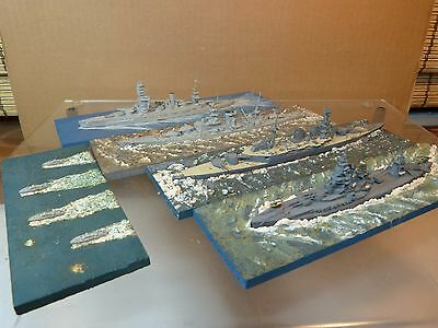 White Metal Waterline Ships Lot of 5 Military ID Naval Ships - Lot D - 1950's