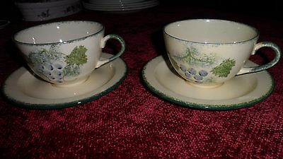 Poole Pottery Vineyard Coffee Cups & Saucers X 2