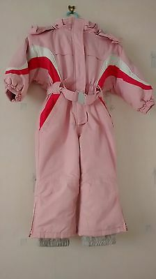 Girls Pink All In One Ski/snowsuit Age 2-3Yrs With Detachable Hood