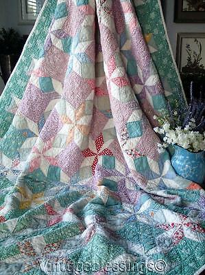 """Gorgeous! Vintage 30s Feedsack Stars on Green QUILT 88"""" x 70"""""""