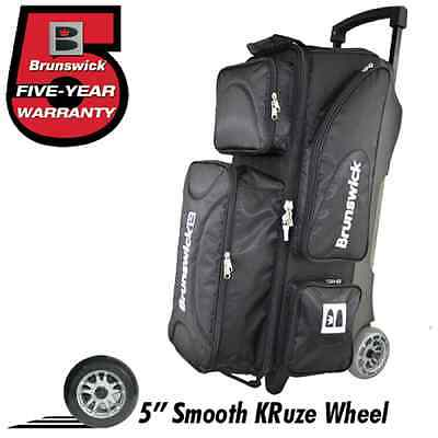 Brunswick Flash X Premium 3 Ball Bowling Roller Bag with Urethane Wheels Black