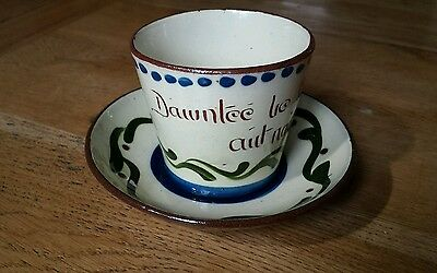 Vintage Devon Torquay Mottoware Longpark Cup and Saucer Dawntee be fraid