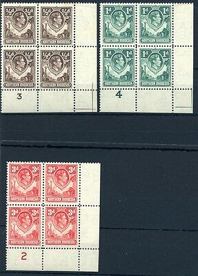 Northern Rhodesia 1951 colour changes in plate blocks x 4