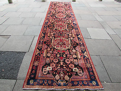 OLD Traditional Hand Made Persian Oriental Wool Blue Long Runner 500x118cm
