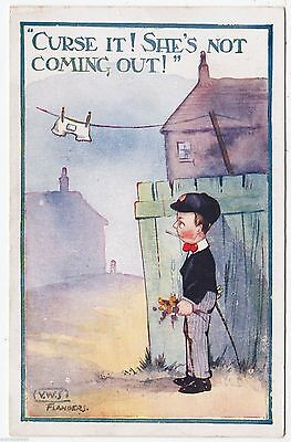 V W STERNBERG - VWS - Curse It ! She's Not Coming Out - 1919 used postcard