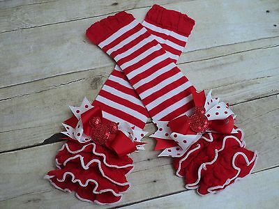 Red and white stripe ruffle leg warmers Minnie Mouse  bows baby toddler girl