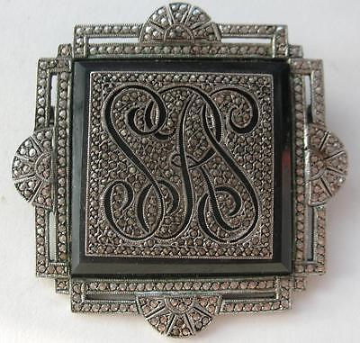 Outstanding Antique 1920S  Art Deco Sterling Black Onyx Marcasite Monogram Pin