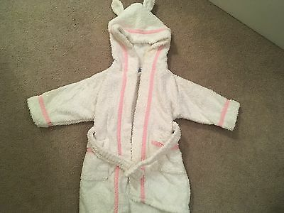 John Rocha Girls Pink And White Dressing Gown, 6-12 Months
