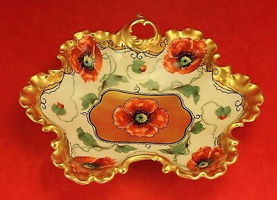 "Antique Pickard 8"" RED POPPY - Handled Candy Dish or Bowl"