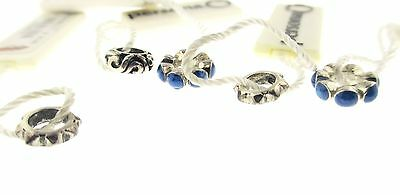 Persona Lot Of 5 Sterling Silver Blue Studded & Swirl New With Tags Charm Beads
