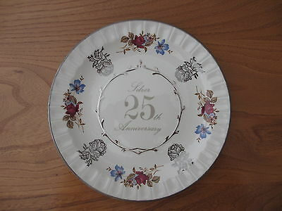 Lovely 25th SILVER WEDDING ANNIVERSARY Staffordshire Plate. Perfect. New.