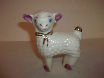 Vintage White Curly Lamb Sheep Figurine Blue Eyes Gold Tail & Bow Pink Ears Hoof