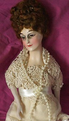 Beautiful Vintage Half Doll with Wig, Dress in Antique Lace