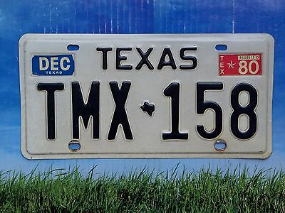 1980 Texas License Plate TMX 158 Excellent Cond