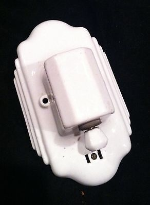 Art Deco Vintage Porcelain 1930's Wall Sconce Fixture Turn Switch Plug-In