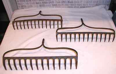Lot of Three Vintage Rusty GARDEN RAKE HEADS Country Primitive