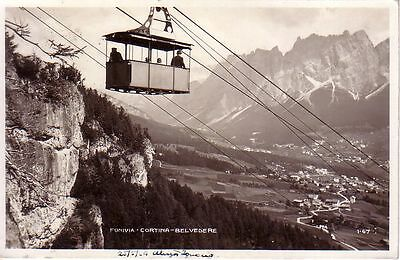 Italy - 1929 Funivia - Cortina - Belvedere used real photo postcard