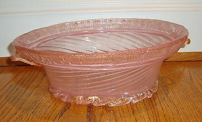"Antique Italian Venetian Murano Pink & Gold 12"" Fruit Bowl * Excellent Condition"
