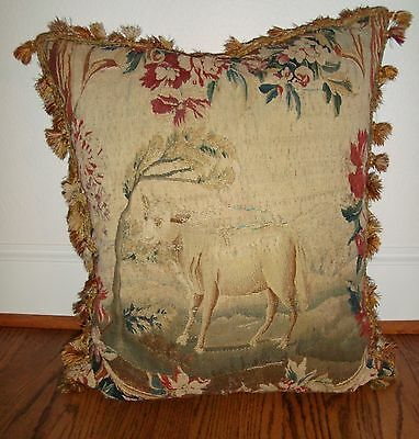 """Antique mid 19th c French Aubusson Tapestry Down Filled 21"""" Pillow"""