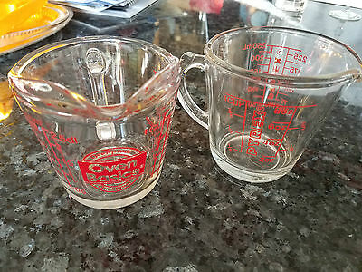 Anchor Hocking & Pyrex Glass Measuring Cups - 1 Cup 1/2 Pint Oz Oven Basics Metr