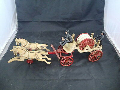 "Vintage Cast Iron Horse Drawn Fire Wagon With Hose Reel Toy! 20 1/2"" Long!"