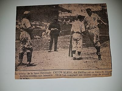Chuck Klein Phillies 1933 LaPresse Montreal French Picture Home Plate