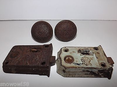 Vintage Door Lock Mechanism Plates Doorknobs Scroll Design Steampunk Repurpose