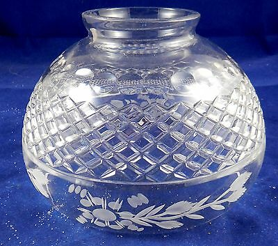 Etched Cut Glass Oil Lamp Shade - Age Unknown