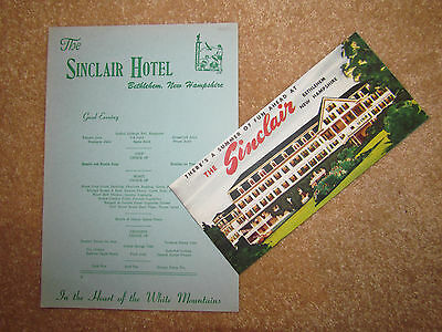 Sinclair Grand Hotel Bethlehem White Mountains NH Brochure & Dinner Menu 1950's