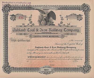 Vintage Kentucky Stock Certificate Ashland Coal & Iron Railway - Blank
