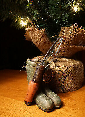 Vintage Style Fishing Pole Boots Fisherman Cabin Christmas Ornament Home Decor