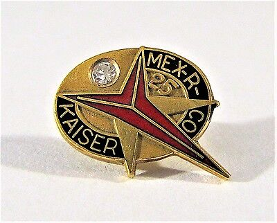 10K Gold & Diamond Kaiser Mexico Refractories Co 25 Years Service Pin Tie Tack