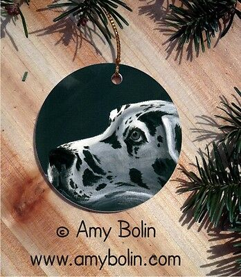 GREAT DANE DOG CERAMIC ROUND Christmas ORNAMENT by Amy Bolin HARLEQUIN DANE