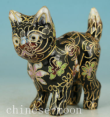 Lucky Chinese Old Cloisonne Handmade Carved cat Statue Good Condition Ornament