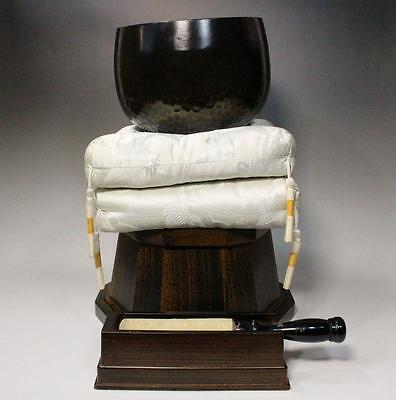 Japanese Buddhist bell w/ cushion & plinth Japan Vajra Bell esoteric Buddhism