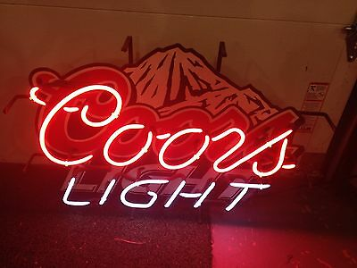 "Coors Light Neon Beer Sign 30"" X 22"" Stand Or Hang Works Great"