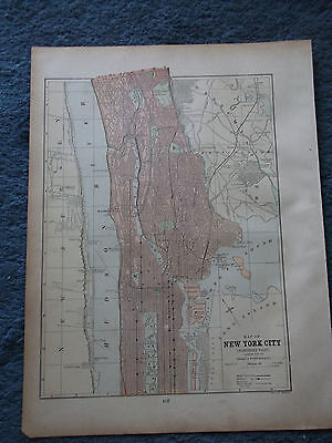 Antique Original 1886  New York City Northern Part (side1) + Boston (side 2) MAP