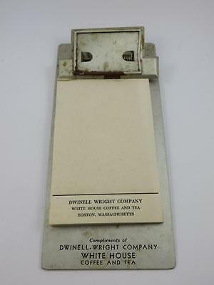 Vintage Advertising Clipboard And Pad  Dwinell Wright Co. White House Coffee Tea